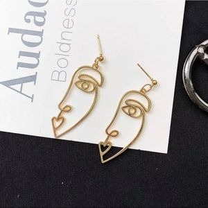Abstract Kiss Face Gold Dangle Earrings